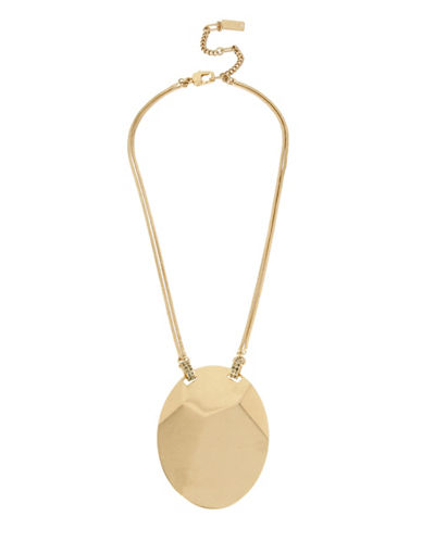 Kenneth Cole New York Pyrite Pave Geometric Oval Disc Pendant Necklace-GOLD-One Size