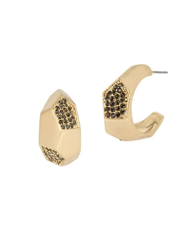 Kenneth Cole New York Pyrite Pave Geometric Hoop Earrings-GOLD-One Size