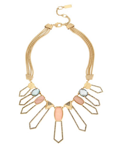 Kenneth Cole New York Tectonic Plates Goldtone Pave Cutout Geometric Statement Necklace-MULTI-One Size