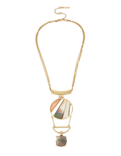 Kenneth Cole New York Tectonic Plates Goldtone Pave Geometric Pendant Necklace-MULTI-One Size