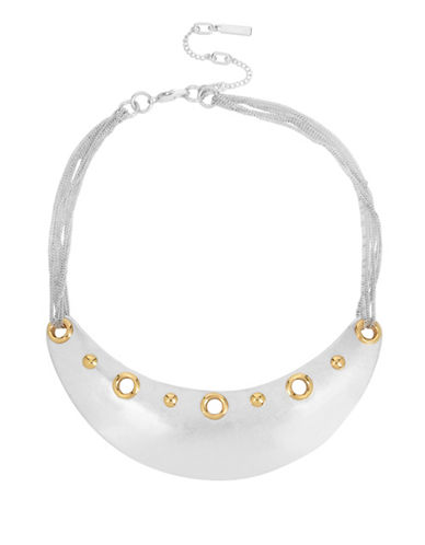 Kenneth Cole New York Glacier Sculptural Rivet Frontal Necklace-TWO TONE-One Size