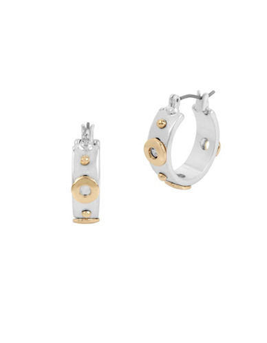 Kenneth Cole New York Glacier Rivet Small Hoop Earrings-TWO TONE-One Size
