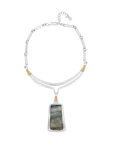 Robert Lee Morris Soho Sculptural Abalone Pendant Necklace-SILVER-One Size