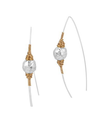 Robert Lee Morris Soho Bold Moves Sculptural Bead Wire-Wrapped Stick Earrings-TWO TONE-One Size