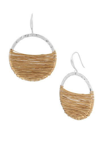 Robert Lee Morris Soho Bold Moves Wire-Wrapped Hoop Earrings-TWO TONE-One Size