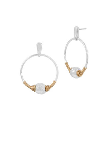 Robert Lee Morris Soho Bold Moves Sculptural Bead Wire-Wrapped Hoop Earrings-TWO TONE-One Size