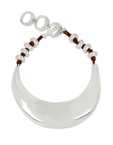 Robert Lee Morris Soho Sculptural Suede Collar Necklace-SILVER-One Size