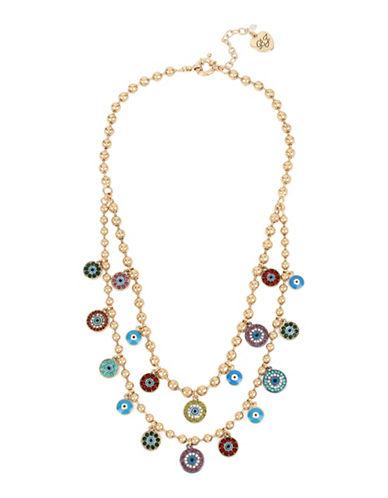 Betsey Johnson Mixed Eye Charm Necklace-MULTI-One Size
