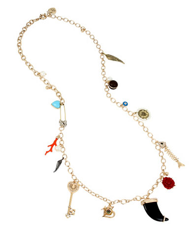 Betsey Johnson Mixed Multi-Charm Long Station Necklace-MULTI-One Size