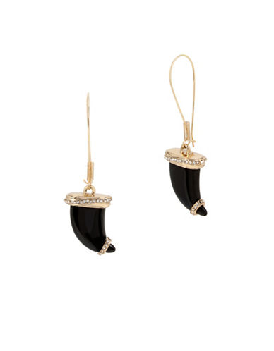 Betsey Johnson Lucky Charms Goldtone Horn Long Drop Earrings-BLACK-One Size