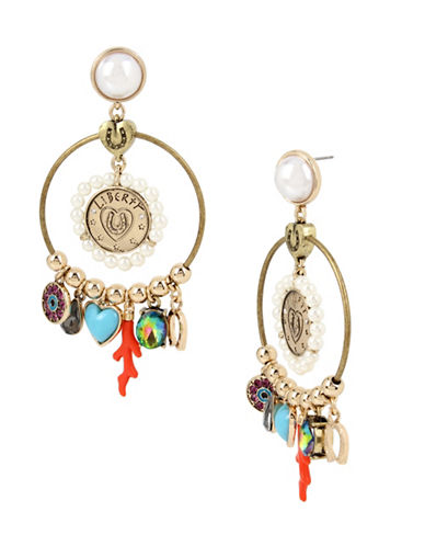 Betsey Johnson Goldtone Mixed Multi-Charm Gyspy Hoop Earrings-MULTI-One Size