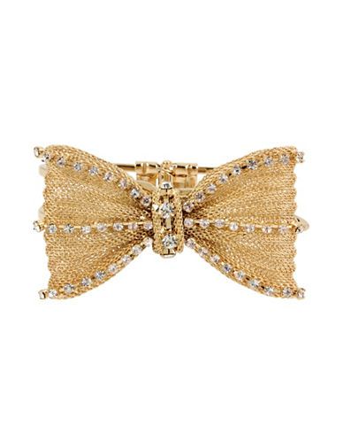 Betsey Johnson Anchors Away Goldtone Mesh Bow Hinged Bangle Bracelet-GOLD-One Size