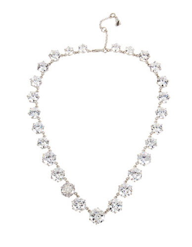 Betsey Johnson Embellished Collar Necklace-SILVER-One Size