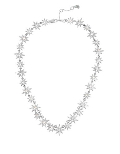 Betsey Johnson Pave Star Collar Necklace-SILVER-One Size