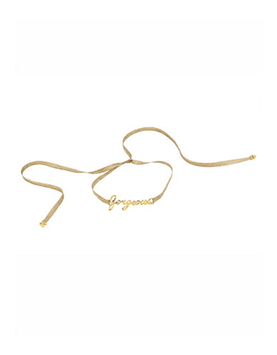 Betsey Johnson Gorgeous Gold Frontal and Metallic Gold Adjustable Tie Choker Necklace-GOLD-One Size