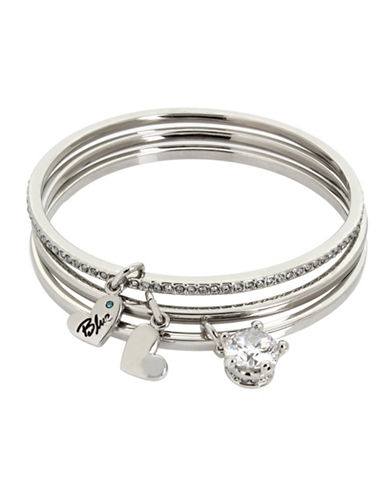 Betsey Johnson Crystal Studded Crown Multi-Charm Skinny Bangle Bracelet Set-SILVER-One Size