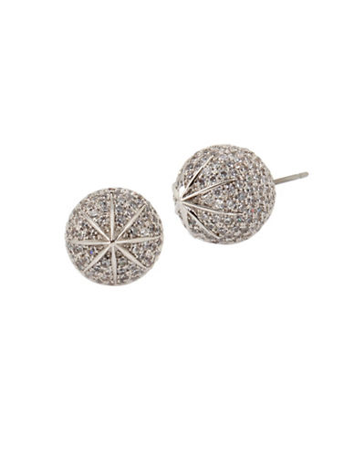 Betsey Johnson Pave Ball Stud Earrings-SILVER-One Size
