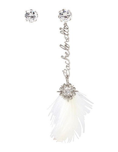 Betsey Johnson Crystal Stud and Bachelorette Feather Linear Mismatch Earrings-SILVER-One Size