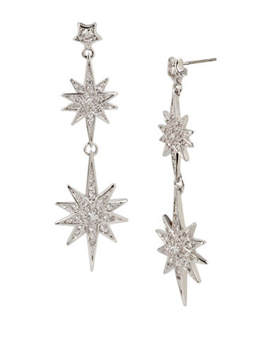 Betsey Johnson Pave Star Double Drop Earrings-SILVER-One Size