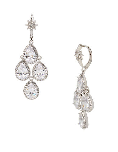 Betsey Johnson Crystal Stone Chandelier Earrings-SILVER-One Size