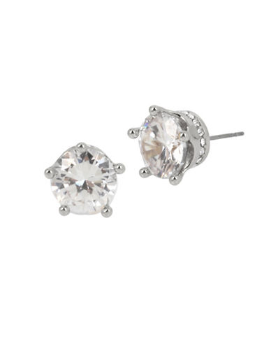 Betsey Johnson Crown Stud Earrings-SILVER-One Size