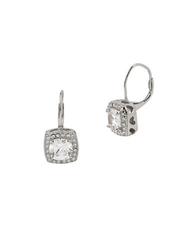 Betsey Johnson Square Drop Earrings-SILVER-One Size