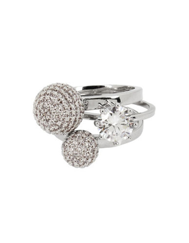 Betsey Johnson Three-Piece Pave Ball and Stone Ring Set-SILVER-7.5