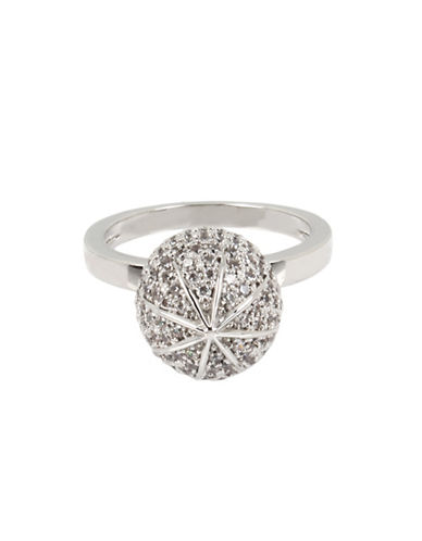 Betsey Johnson Pave Ball Ring-SILVER-One Size