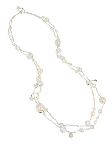 Betsey Johnson Faux Pearl Long Two-Row Necklace-SILVER-One Size