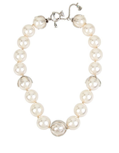 Betsey Johnson Faux Pearl Collar Necklace-SILVER-One Size