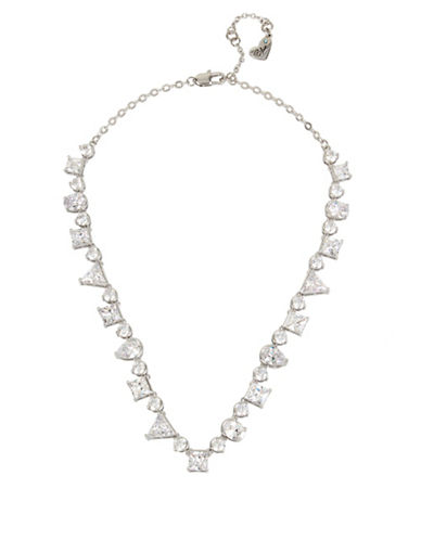 Betsey Johnson Mixed Stone Collar Necklace-SILVER-One Size