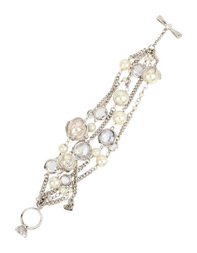 Betsey Johnson Faux Pearl Multi-Row Toggle Bracelet-SILVER-One Size