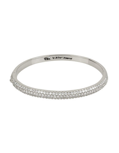 Betsey Johnson Pave Hinged Bangle Bracelet-SILVER-One Size