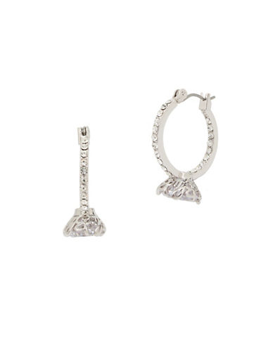 Betsey Johnson Pave Engagement Ring Hoop Earrings-SILVER-One Size