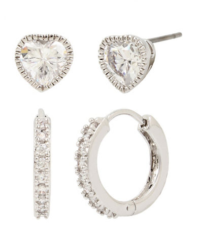 Betsey Johnson Crystal Heart Stud and Pave Huggie Hoop Duo Earring Set-SILVER-One Size