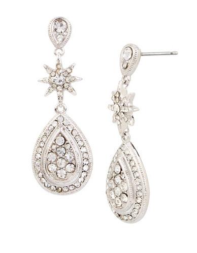 Betsey Johnson Pave Teardrop Earrings-SILVER-One Size