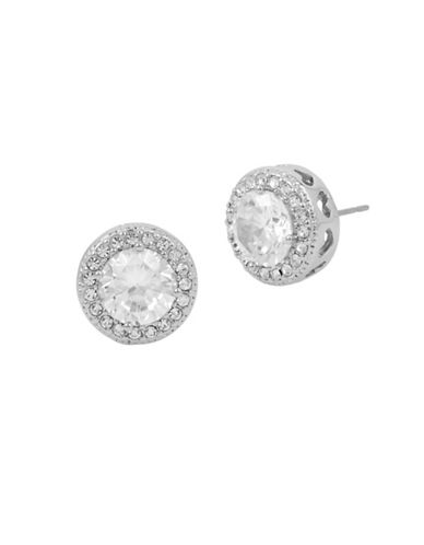 Betsey Johnson Halo Round Stud Earrings-SILVER-One Size