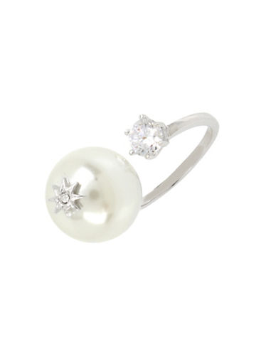 Betsey Johnson Faux Pearl Open RingFaux Pearl Open Ring-SILVER-7.5