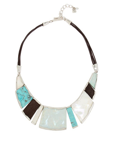 Robert Lee Morris Soho Mosaic Semi-Precious Turquoise Silverplated Geometric Necklace-TURQUOISE-One Size