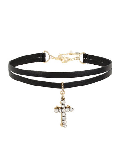 Betsey Johnson Two- Row Double Cross Charm Choker Necklace-BLACK-One Size