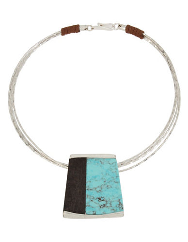 Robert Lee Morris Soho Mosaic Semi-Precious Turquoise Silverplated Pendant Necklace-TURQUOISE-One Size