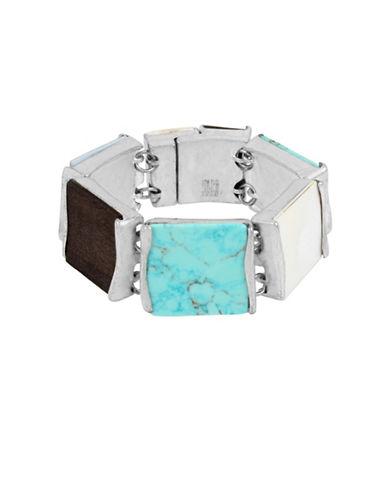 Robert Lee Morris Soho Mosaic Semi-Precious Turquoise Silverplated Geometric Bracelet-TURQUOISE-One Size