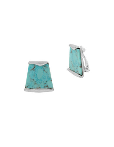 Robert Lee Morris Soho Mosaic Semi-Precious Turquoise Silverplated Clip-On Earrings-TURQUOISE-One Size
