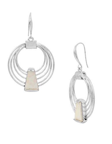 Robert Lee Morris Soho Mosaic Silverplated Multi-Row Hoop Earrings-SHELL-One Size
