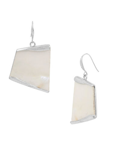 Robert Lee Morris Soho Mosaic Silverplated Geometric Drop Earrings-SHELL-One Size