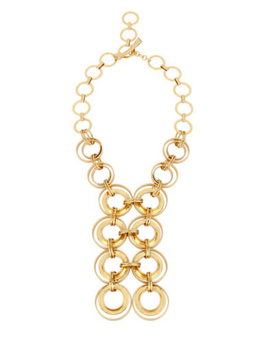 Robert Lee Morris Soho Primal Connection Goldplated Multi-Link Frontal Necklace-GOLD-One Size