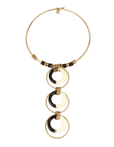 Robert Lee Morris Soho Primal Connection Multi-Circle Totem Wire Collar Necklace-GOLD-One Size