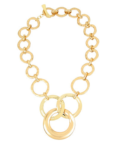 Robert Lee Morris Soho Primal Connection Hammered Texture Circle Link Necklace-GOLD-One Size