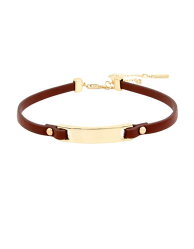 Kenneth Cole New York Leather Choker Necklace-BROWN-One Size