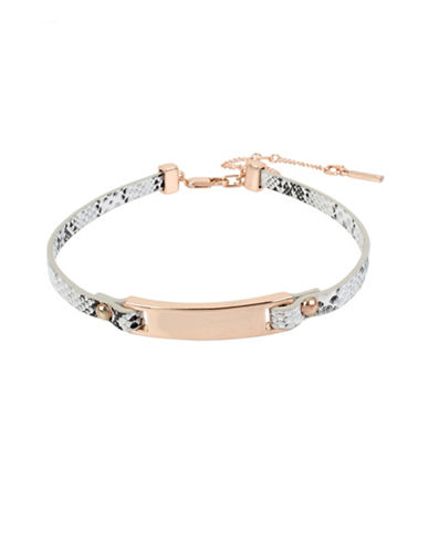 Kenneth Cole New York Leather Choker Necklace-ROSE GOLD-One Size